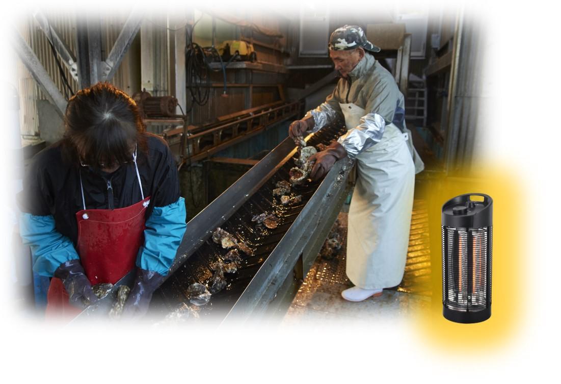 サラマンダーヒーターの水産加工場での利用シーン