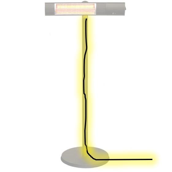 ピクシーヒーターのスタンド設置タイプは、ケーブルをスタンドポールの中に通すことができます。